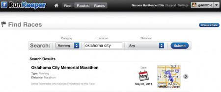 As you can see, there is only one race in Oklahoma City.  Only one race ever.
