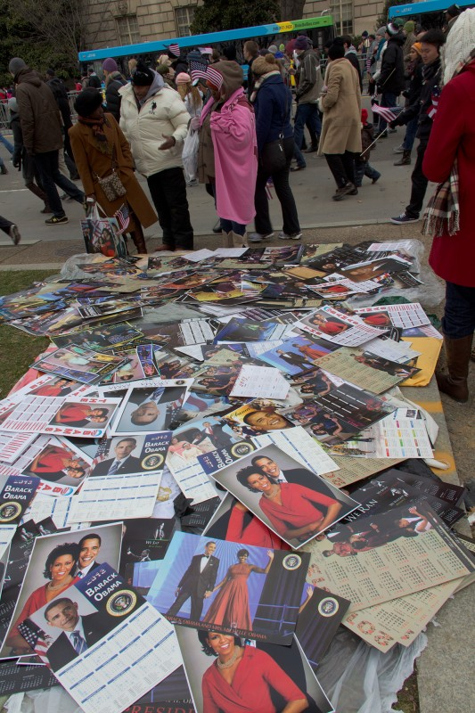 A pile of Obama family images. You know, just on the sidewalk.